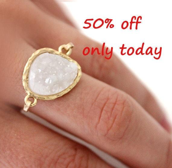 Druzy white ring 14kt gold filled - custom size
