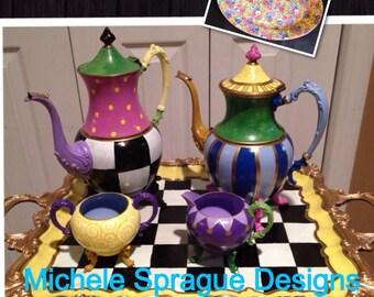 Painted Tea Set // painted Silver Tea Set // Whimsical Painted Tea Set