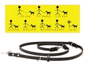 8-Way Lead in Black--the most versatile 6 ft. LEATHER dog leash