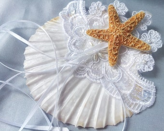 Beach Wedding Seashell Ring Pillow with Beaded Alencon Lace Starfish Wedding Ring Bearer Pillow
