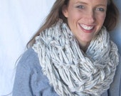Chunky Arm Knit Infinity Scarf in Oatmeal - Choose your favorite color