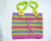 CLOSING SHOP SALE: Crocheted Cotton Bag in Purple, Pink and Lime Green
