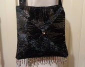 Black velvet and sequins bag