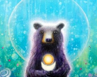 "Bear Print -  Bear Art Print - 11"" x 14"" - Bear Painting - Psychedelic Art - Cute Bear Art -  Surrealism -  Pop SurSurrrealism -  Nature Art"