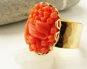 Vintage coral cameo ring, lily of the valley cameo, Peony cameo cocktail ring