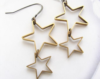 Star dangle earrings, shooting star earrings, comet star earrings, rustic star, brass jewelry