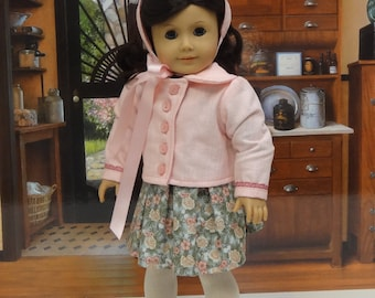 Walk in the Park - vintage dress, coat and hat for American Girl doll