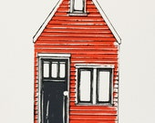 a tiny orange house screen print