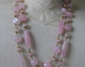 Pink Bead Gold Necklace Vintage