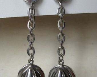 Modern Silver Dangle Earrings Screw Teardrop Vintage