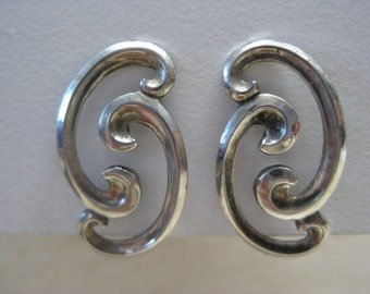 Southwest Sterling Silver Earrings Screw Vintage 925