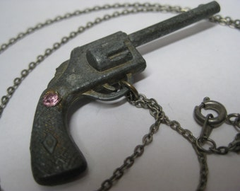 Shabby Gun Pink Rhinestone Necklace Silver Vintage Pendant