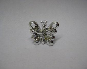 Butterfly Rhinestone Brooch Silver Clear Vintage Pin