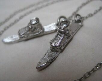 Snow Ski Silver Necklace Vintage Pendant Dangle