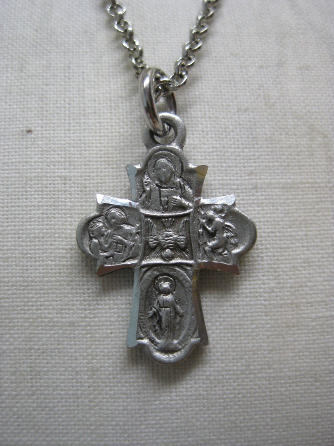 cross catholic silver pewter necklace vintage pendant