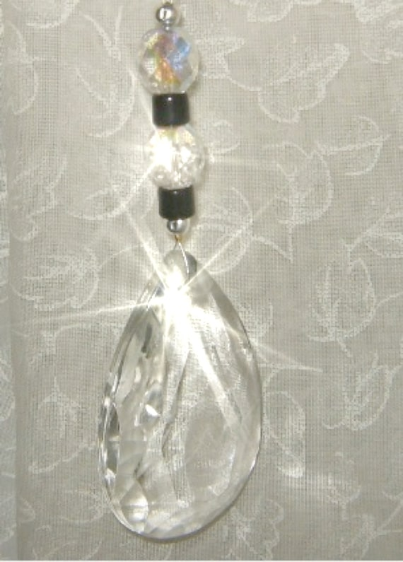 BLACK And WHITE Vintage Crystal Ornament, Suncatcher, Sun Catcher, Feng Shui home decor