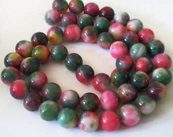 8mm Mix color Candy round Jade Strand beads - 51pcs per strand
