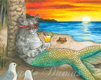 Art print 5x7 Cat Mermaid 25 beach from funny painting by Lucie Dumas