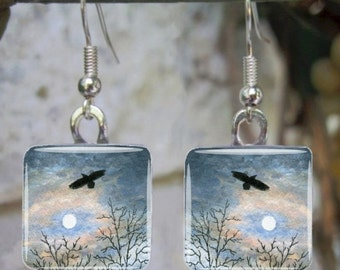 Art Glass Earrings Jewelry Square or Round Landscape 458 crow raven painting by L.Dumas