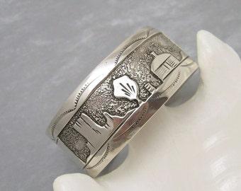 Wide Sterling Storyteller Cuff Bracelet Yazzie Vintage Jewelry B5974