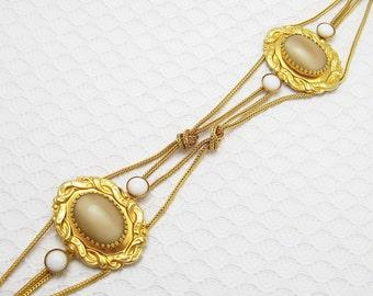 Vintage Dior Chain Belt Cabochon Stones 1960s