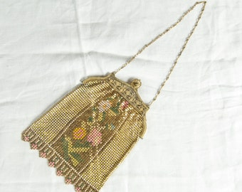 SALE WAS 115 Golden Pink Pastel Mesh Flapper Bag with Geometric Motif rsb