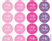 princess dots personalized dishwasher safe labels, set of 2 sheets, 48 labels