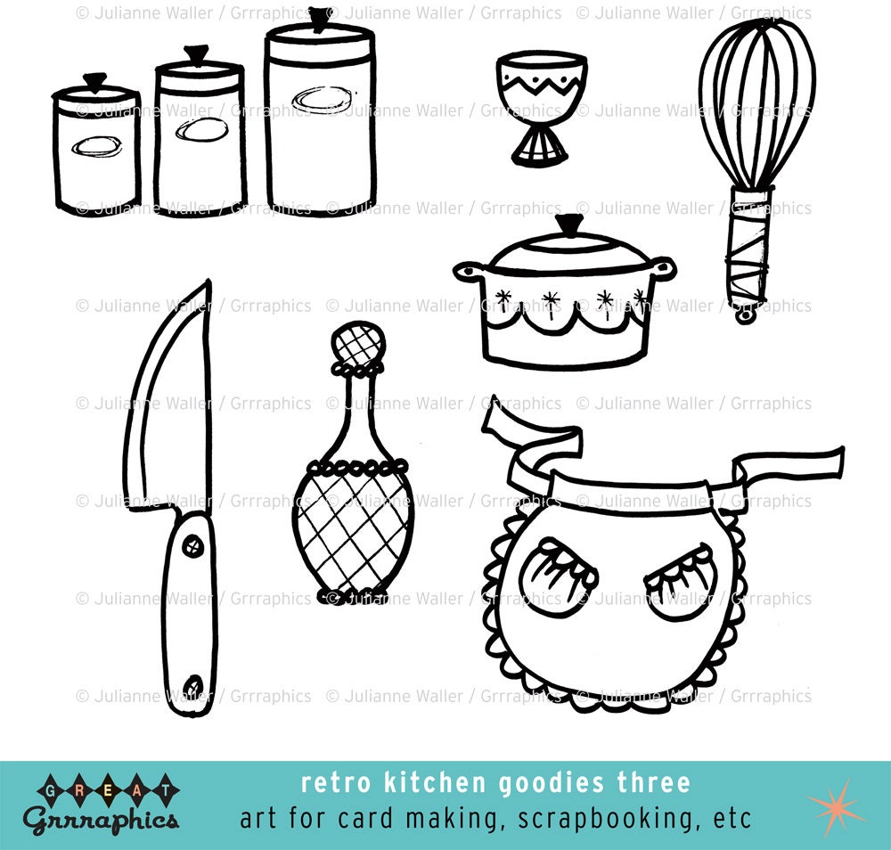Retro Kitchen Goodies Black And White Clipart: Cannisters Egg