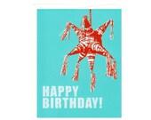 Happy Birthday Star Piñata-- Blank Turquoise Card