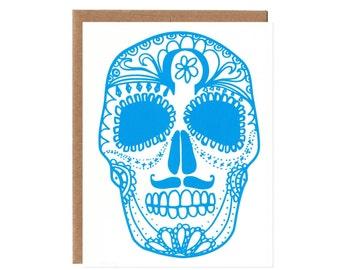 Sugar Skull Note Card in Blue