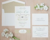 Elegant Wedding Invitation - Vintage,  luxe invitations, french flourishes, pattern invitation, belly band SAMPLE