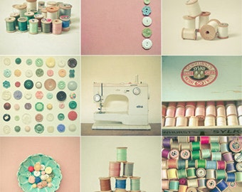 Still Life Photography, Button Art, Vintage Style, Sewing Room Decor, Craft Room Art, Pastel Colours, Photo Collection - Buttons and Thread