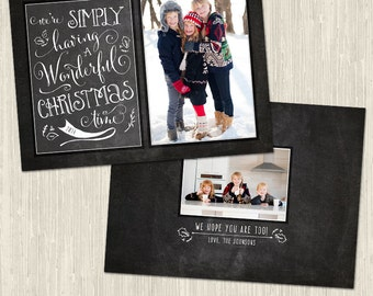 Simply Wonderful Chalkboard Cheer Vol 2 Holiday Photo Card | Photoshop Templates for Photographers | Instant Download | CS6024d