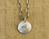 """1/2"""" Sterling Silver Hammered Handstamped Disk Round Charm with a Bird on a Leafy Tree Branch, long box cable chain, nature, outdoors"""