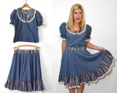 Blue Floral Dress - Sweet Lolita Dress - Two Piece Outfit - Two Piece Skirt Set