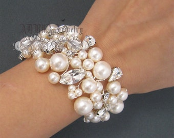 Bridal Bracelet, Pearl Wedding Bracelet, Vintage Style Chunky Cuff Bracelet, Ivory White Pearls Rhinestone Wedding Statement Jewelry