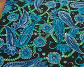Jewel Tone Paisley - New Old Stock Vintage Fabric Mod Purples Blues Greens 32 in wide