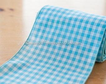 Turquoise Gingham Band  - 3 yards Vintage Fabric Trim New Old Stock Blue