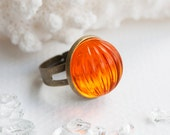 Horizon and Shine - ring, vintage cabochon, sun, fire, orange, jewelry, adjustable ring, kitsch, retro, candy