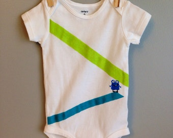 Modern MONSTER bodysuit - hand painted monster with blue and green stripes - size 9 month Carter's brand bodysuit