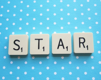 Upcycled Vintage Scrabble Tile Magnets - STAR