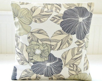 sage green, large grey flowers leaves decorative pillow cover ,16 inch gray cream floral cushion cover