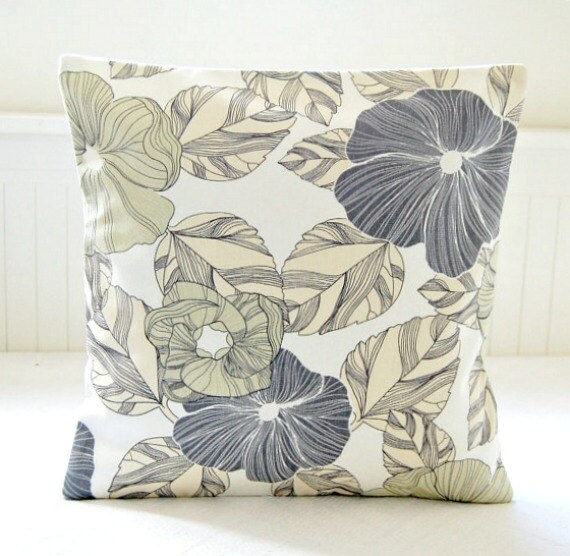 Sage Green Large Grey Flowers Leaves Decorative Pillow Cover