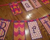 Happy Birthday Hot Pink/Orange/Purple Banner. Little Girl Birthday, Birthday Banner, Party Decor, Birthday Decoration
