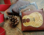 old guitar repurposed leather wallet-- made to order