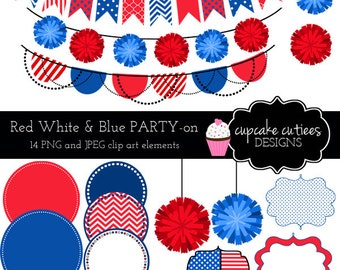 Party Time - REd WHitE and BLuE-  Digital Clipart Elements Commercial use Instant Download