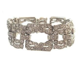 Art Deco Bracelet, Wide Rhinestone Cuff, Original Antique 1920 Art Deco Jewelry, Wedding Jewellery
