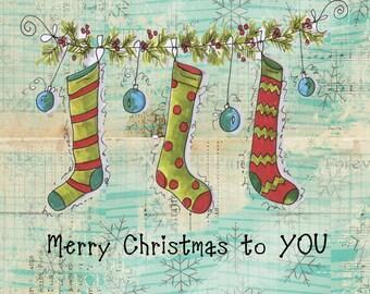 Christmas Notecard custom hand drawn stockings handmade notecards Christmas cards