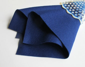 Navy Blue Wool Felt, Choose Size, Wool Felt Sheet, Large Felt Square, Pure Merino Wool, Washable Felt, 1mm Thick, Dark Blue, Monaco Blue