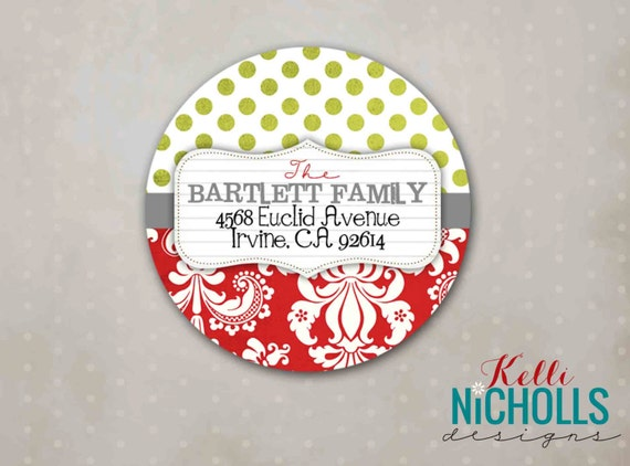 Damask Christmas Address Labels, Custom Holiday Return Address Sticker, Envelope Seal #C102